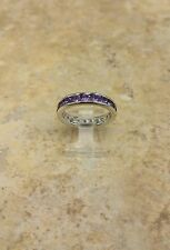 STERLING SILVER AMETHYST CHANNEL SET SILK FIT ETERNITY BAND SIZE 7 QVC SOLDOUT