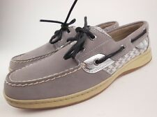 SPERRY TOP-SIDER Bluefish Gray Nubuck Leather 2 Eye Boat Shoes Sz 9.5