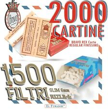 1500 FILTRI RIZLA SLIM 6mm + 2000 CARTINE BRAVO REX CORTE REGULAR FINISSIME