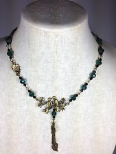 "Handmade Necklace Charm 18"" Vintage Brass Metal Emerald Green Crystal Love Birds"