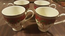 Mikasa PALATIAL HOLLY PLATINUM MUGS  SET of 4
