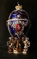 St Petersburg Russian Faberge Egg: Royal Egg on the Lion Stand, 7""