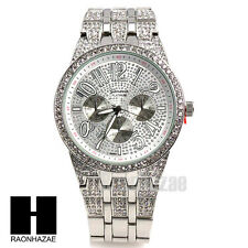 Men Geneva Luxury Watch White Gold Plated Cubic Geneva Bling Iced Out Watch G189