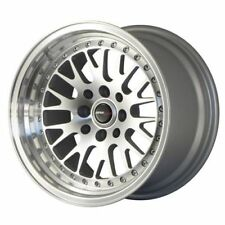 "JAPAN RACING JR10 18"" 9.5J ET35 5X100 5x120 SILVER ALLOY RIMS WHEELS SET Y1886"