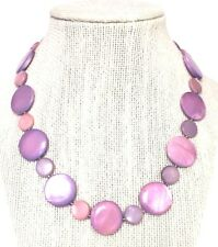 Demi Set:Purple & Pink Dyed Real Mother-of-Pearl Disk Bead Necklace & Earrings