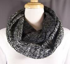 Black Grey Gray White knit circle infinity endless loop long soft scarf cowl