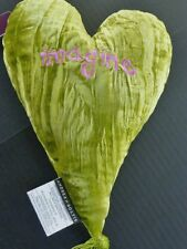 """""""Imagine"""" Embroidered Lime Crush Velvet 12""""Heart Shaped Aromatherapy Pillow, USA"""
