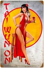 Tai Wun On Pin Up Girl Vintage Distressed Metal Sign Man Cave Wall Decor HB067