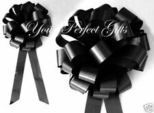 "10 BLACK WEDDING 9"" PULL PEW BOWS BRIDAL SHOWER CHURCH"