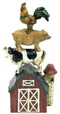 Barnyard Stacked Farm Animals, Cow, Pig,Rooster Figure Resin Country Decor