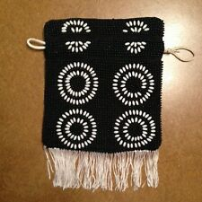 Black & White BEADED EVENING BAG Drawstring Purse Handbag Holiday Party Cruise