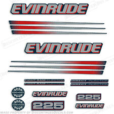 Evinrude 225hp Bombardier Outboard Decal Kit - Blue Cowl Engine 2002-2006