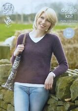 KNITTING PATTERN Ladies EASY KNIT Long Sleeve V-Neck Jumper DK King Cole 4268