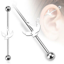 316L Surgical Steel Swallow Bird Ear Cartilage Industrial Barbell Piercing 14 GA