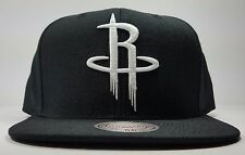 Houston Rockets Mitchell & Ness Black White Solid Wool HWC Snapback Hat Cap NBA
