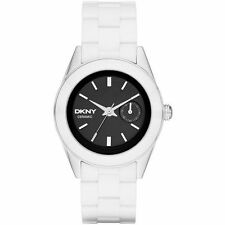 NEW DKNY SILVER TONE+WHITE CERAMIC BAND,BLACK DIAL,BRACELET WATCH NY2142