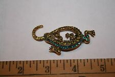 Vintage Sparkly Two Town Green Rhinestone Lizard Design Pin Brooch