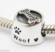 WOOF MY DOG BOWL CHARM Bead Sterling Silver.925 For European Bracelets 766