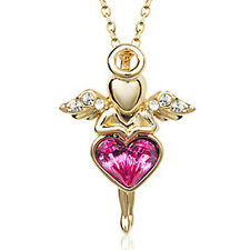 Guardian Angel Necklace Gold Plated Pink Crystal Love Heart  Christening Pendant