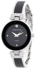 Anne Klein Women's Silver & Black Bangle Bracelet Black Dial Watch AK1775BKSV