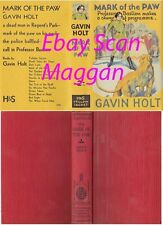 Gavin Holt  MARK OF THE PAW  2nd w/fdj 1935 Professor Bastian Murder Mystery