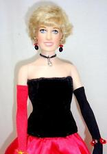 "Franklin Mint Princess Diana 16"" Vinyl Doll Lot 44 Red/Black Flamenco Gown Box"
