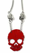 TOTAL SKULL - RED SKULL SILVER COLORED NECKLACE NEW OFFICIAL ROB SHERI ZOMBIE