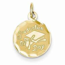 "NEW 14K YELLOW GOLD GRADUATION DAY DISC CHARM PENDANT .80"" X .55"" MORTAR BOARD"