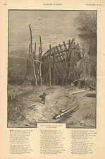 Nautical, Song Of The Unbuilt Ship, by Will Carleton, w/Verse Vintage 1887 Print