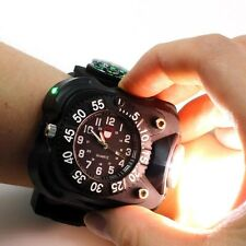 Military Tactical Rechargeable LED Sporting Wrist Watch Flashlight with Compass#