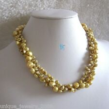 "18"" 4-9mm 3Row Keshi Baroque Champagne Freshwater Pearl Necklace"