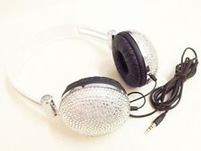 blingustyle DJ sparkling crystals bling bling retro Ear-Cup headphone silver