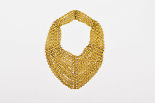 VINTAGE Antiqued Gold Tone Multi Strand Chain Web Bib Necklace