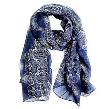 Blue Porcelain Style Thin Section the Silk Floss Women Scarf Shawl FUS - UK