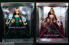 2004 Holiday Barbie in Green and Burgundy Red Dress Christmas Doll Rare Lot 2