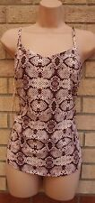 PAPAYA PINK BROWN SNAKE SKIN STRAPPY SUMMER CAMI VEST BLOUSE TOP 8 S