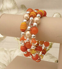 Bright Orange Mixed Beads Memory Wire Ladies Cuff Bracelet Handcrafted New