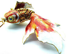 1PC RED CHINESE HANDMADE CLOISONNE ENAMEL GOLD FISH CHRISTMAS ORNAMENT