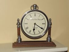 "Imperial Clock Works Mantel Clock On Wood & Metal Stand 9 1/2"" Tall WORKS"