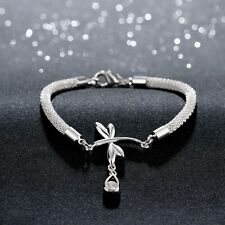Hot 925 Sterling SIlver Plated Women Dragonfly Crystla Bracelet Bangle Jewelry