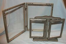 Lot of 2 Doubles Art Deco Wood Frames Silver Finish 4x6 Swivel & 8x10