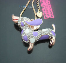 A645Z  Betsey Johnson Crystal Colorful Enamel Dachshund Puppy Pendant Necklaces
