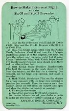 "1936 Kodak Brownie Instruction Card: ""HOW TO MAKE PICTURES AT NIGHT"""
