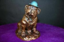 Bulldog Cigar Smokin w Hat & Tie Bronze Dog Statue