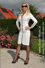 Lederrock weiß Zipper schwarz Gr. 34 36 38 40 42 44 46 48 50 52 Lederimitat (a2)