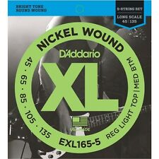 D'Addario EXL165-5 Custom Light 5-String Long Scale Bass Guitar Strings 45-135