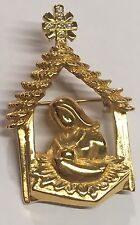 Vintage Signed Butler Pin Brooch Gold Tone Nativity Mary & Jesus Rhinestone Star