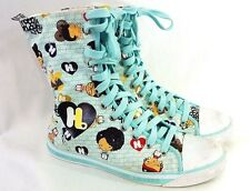 Harajuku Lovers High Top Fold Down Lace Shoes Sneakers Size 9 US Cute Aqua