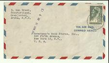 1947 ARUBA NWI Air Mail Cover Curacao Stamp   New York USA Brentano's Book Store