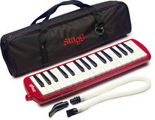 NEW Stagg Melosta Red Alto Melodion Melodica M 32 Key Case, Mouthpiece